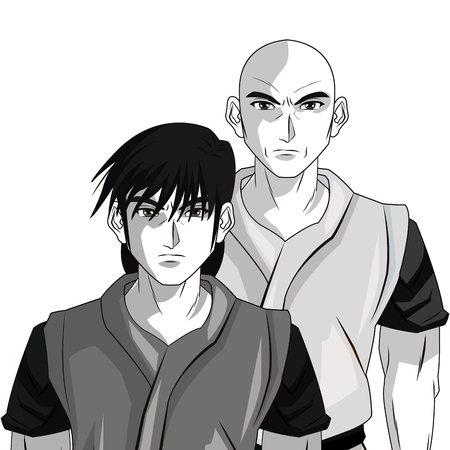 anime young: man boy young anime manga comic cartoon fight icon. Black white grey and isolated design. Vector illustration