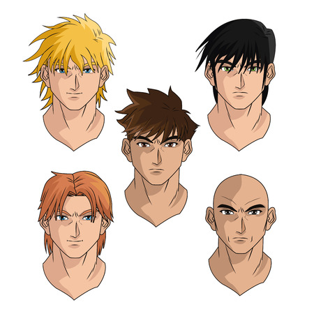 anime young: men man boy young heads anime manga comic cartoon fight game icon. Colorful and isolated design. Vector illustration