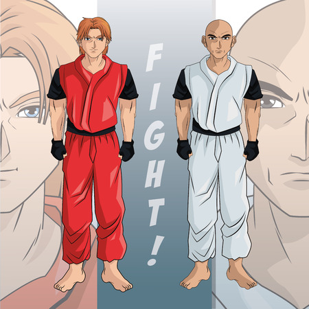 anime young: man boy young anime manga comic cartoon fight game icon. Colorful design. Vector illustration