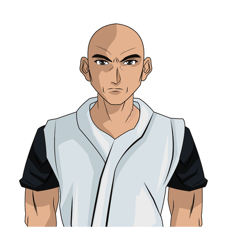 anime young: man boy young no hair anime manga comic cartoon fight game icon. Colorful and isolated design. Vector illustration