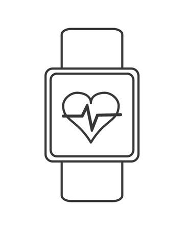 heartbeat monitor: flat design heartbeat monitor wristband icon vector illustration