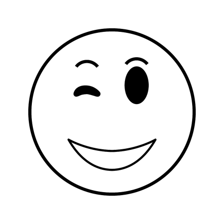 wink: flat design happy wink emoticon icon vector illustration