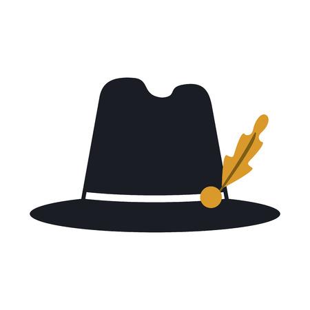 flat design bavarian tyrolean hat icon vector illustration Illustration
