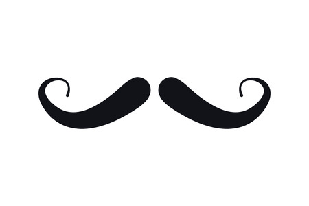 black head and moustache: flat design retro mustache icon vector illustration