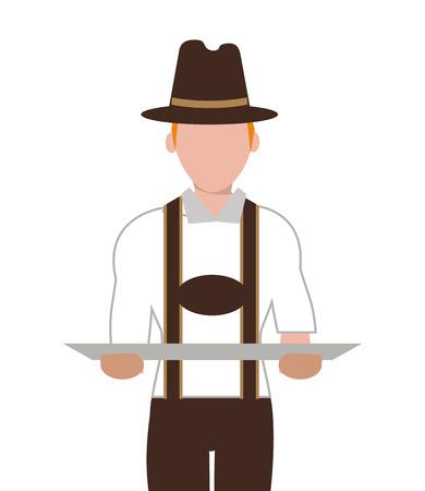 german ethnicity: flat design german bavarian man icon vector illustration