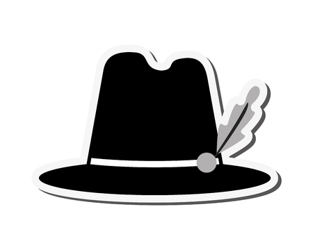trachten: flat design bavarian tyrolean hat icon vector illustration Illustration
