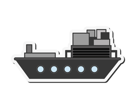 import trade: flat design merchant container ship icon vector illustration