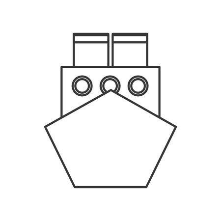 water carrier: flat design merchant container ship icon vector illustration