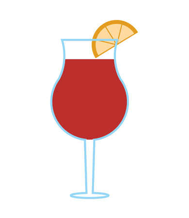 flat design garnished cocktail icon vector illustration