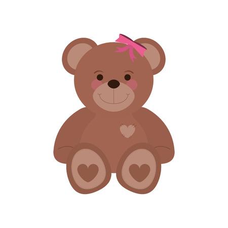 flat design teddy bear icon vector illustration Illustration