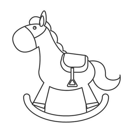 flat design wood rocking horse icon vector illustration