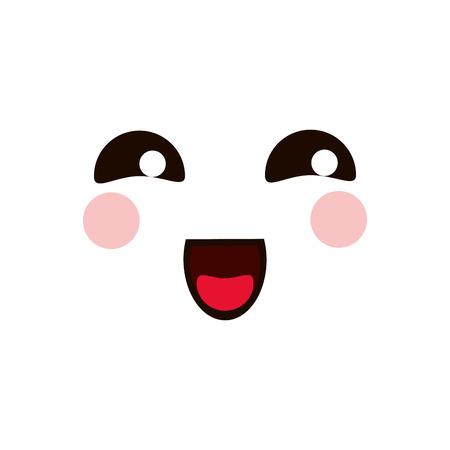 flat design cute happy facial expression icon vector illustration