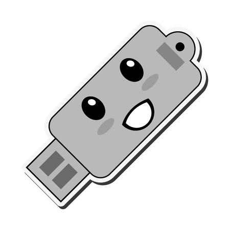 usb drive: flat design kawaii usb drive icon vector illustration Illustration