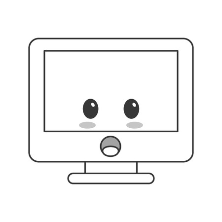 kawaii: flat design kawaii computer icon vector illustration Illustration