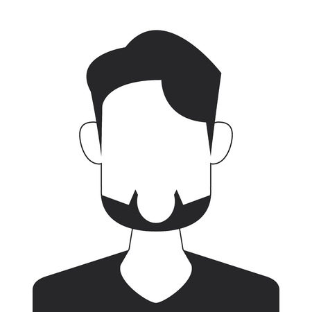 bearded man: flat design faceless bearded man portrait icon vector illustration
