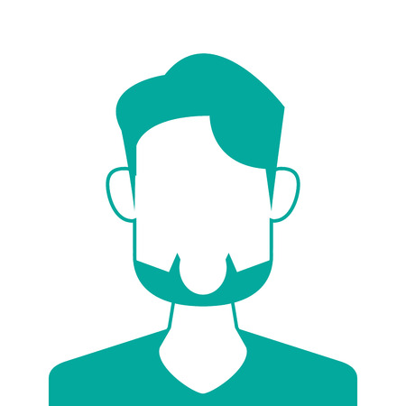 anonymity: flat design faceless bearded man portrait icon vector illustration