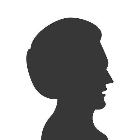 head profile: flat design man head profile silhouette icon vector illustration