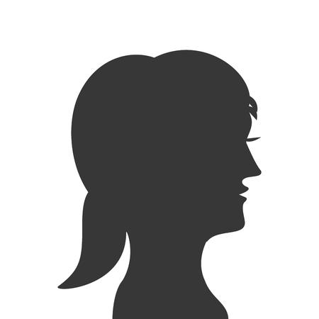 head profile: flat design woman head profile silhouette icon vector illustration