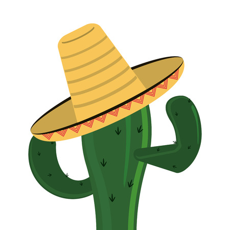 spiked: flat design cactus and sombrero icon vector illustration