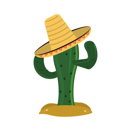 flat design cactus and sombrero icon vector illustration