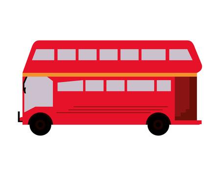 flat design double decker bus icon vector illustration Illustration