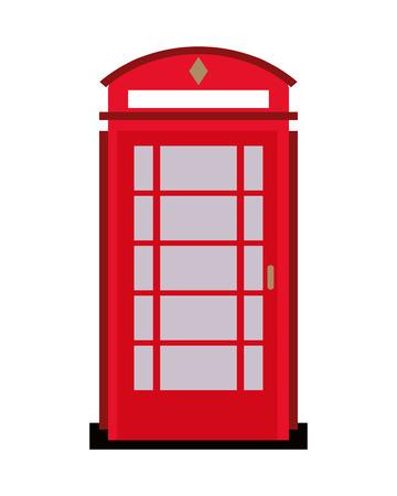 cabina telefono: El diseño plano de teléfono Inglés ilustración vectorial icono de la cabina