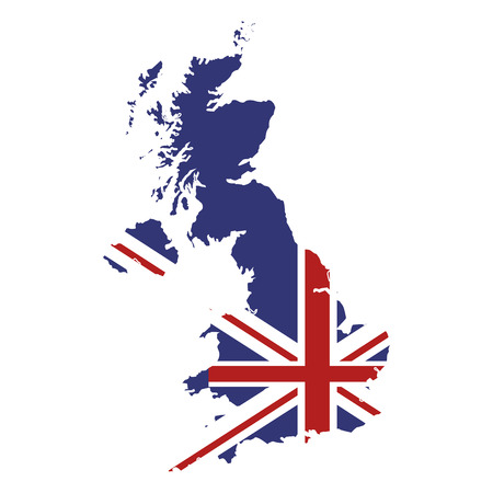 kindom: flat design great britain map and flag icon vector illustration