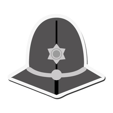 flat design english police custodian helmet icon vector illustration Illustration