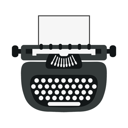writer: writer machine vintage old message icon. Flat and isolated design. Vector illustration