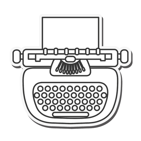 type writer: writer machine vintage old message icon. Flat and isolated design. Vector illustration