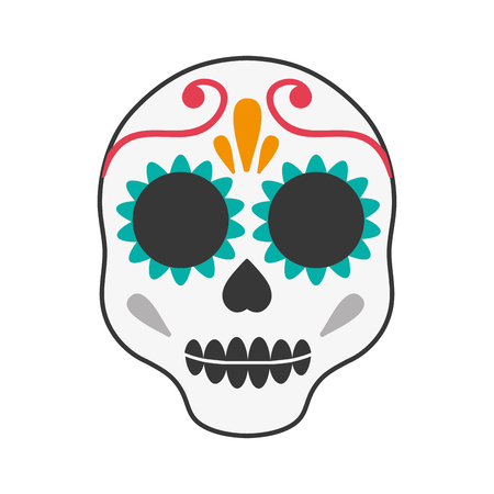 skull mexican art paint celebration icon. Flat and isolated design. Vector illustration Illustration