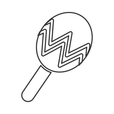 maraca: maraca music striped instrument wood icon. Flat and isolated design. Vector illustration