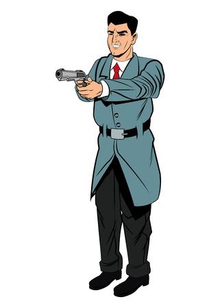 man with gun: Detective police man gun revolver pop art comic cartoon icon. Colorful and isolated design. Vector illustration