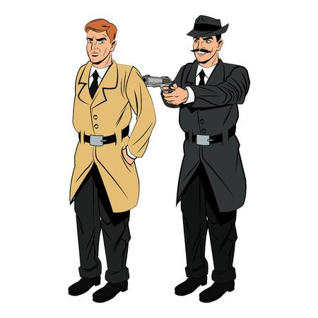 man  gun: Detective police man gun revolver pop art comic cartoon icon. Colorful and isolated design. Vector illustration