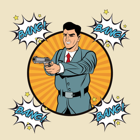 Detective police man gun revolver pop art comic cartoon icon. Colorful and striped seal stamp design. Vector illustration