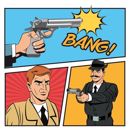 man gun: Detective police man gun revolver pop art comic cartoon icon. Colorful design. Vector illustration