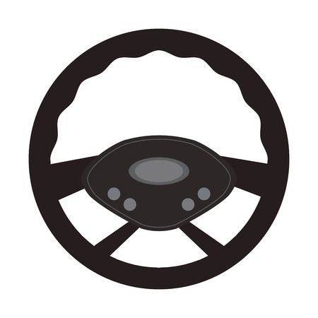 steering wheel car automobile circle machine part icon. Flat and Isolated design. Vector illustration