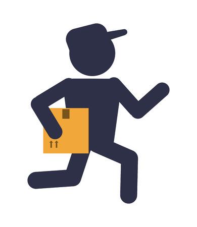 Box-Paket Symbol Mann Lieferung Versand. Wohnung und Isolierte Design. Vektor-Illustration
