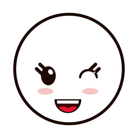 baby seal: flat design kawaii happy facial expression emoticon icon vector illustration Illustration