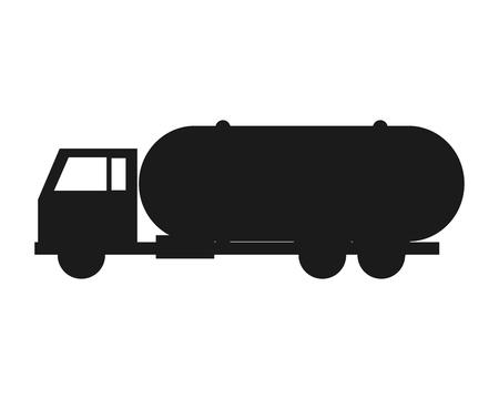 flat design Fuel tanker truck or cistern truck icon vector illustration