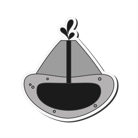 flat design volcano cross section icon vector illustration