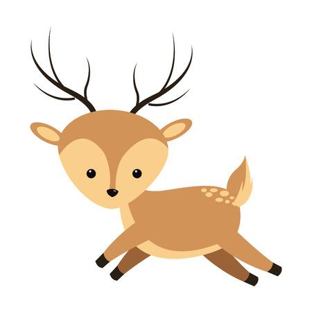 flat design cute reindeer cartoon icon vector illustration