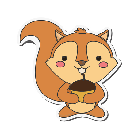 sad little girl: flat design cute squirrel cartoon icon vector illustration Illustration