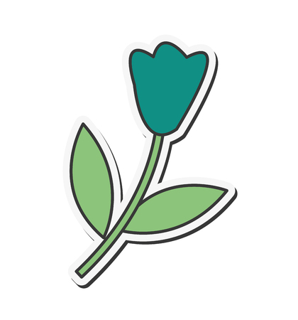 single flower: flat design single flower icon vector illustration Illustration