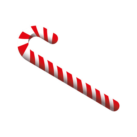 flat design candy cane icon vector illustration Illustration