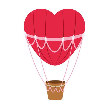 flat design hear hot air balloon icon vector illustration Vector Illustration