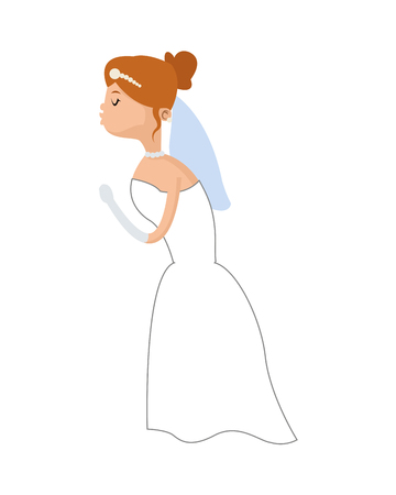 flat design happy bride kiss icon vector illustration
