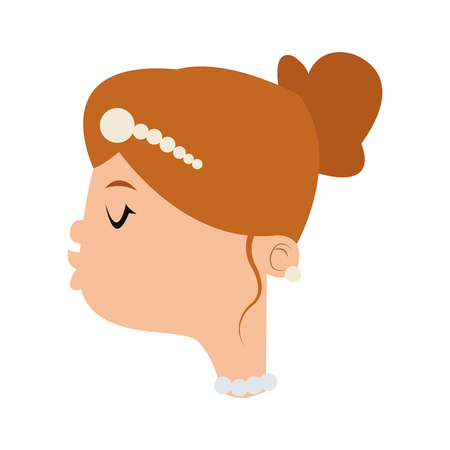 alluring: flat design happy bride kiss icon vector illustration