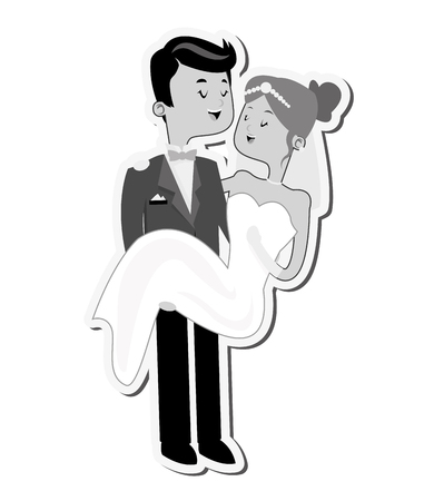 carry on: flat design groom carry bride icon vector illustration Illustration
