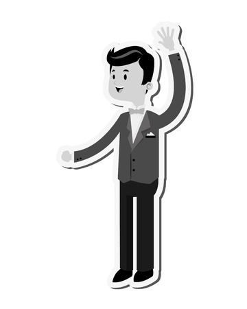 flat design happy groom icon vector illustration